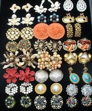 Vintage Lot 24 Pair of Clip Earrings Crystals Enamel Rhinestones Signed Monet