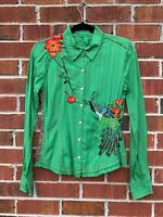 Johnny Was 3J Workshop Embroidered Peacock Floral Asian Shirt Size Small Blouse
