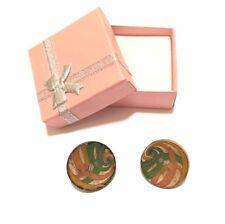 Ladies Handmade, Spiral Fields Design Button Earrings, Trendy Fashion Earrings