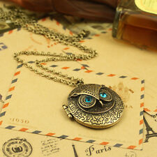 Women New Retro Crystal Blue Eyes Owl Round Phase Box Opening Pendent Necklace