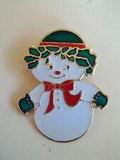 Enamel Goldtone Trim Holly Smiling Snowman Brooch Pin