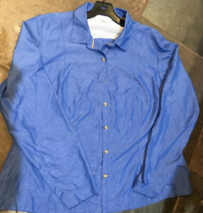 ORVIS Nylon Polyester XL Blue Button Long Sleeve Athletic Shirt Breathable Vent
