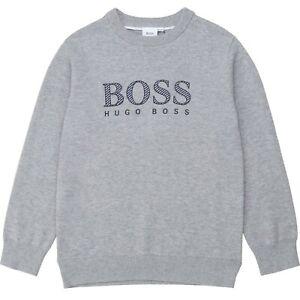 HUGO BOSS Kids Pullover / Strickpullover grau mit Logo Groessen 8-16 Jahre