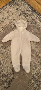 Next Baby Cosy Bear Pram Suit Light Grey Age 6-9 Months
