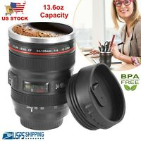 Camera Lens Cup 24-105 Coffee Travel Mug  Stainless Steel Thermos Leak-Proof Lid