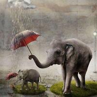5D Full drill Diamond Painting Elephant Rain Umbrella Home Decor Handicraft 6385