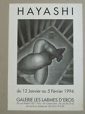 HAYASHI Affiche originale Galerie Les Larmes d'Éros 1994 Femme érotisme Japon