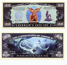 Mermaids Million Dollar Bill Collectible Fake Play Funny Money Novelty Note