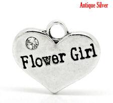 5 ANTIQUE SILVER FLOWER GIRL RHINESTONE HEART CHARM~WEDDING PARTY~(9)UK
