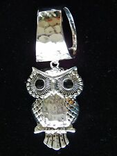 Silver Owl Pendant W/Black Rhinestones Womens Silver Hammered Scarf Ring/Holder,