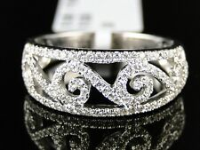14K Womens White Gold Diamond Wedding 8 Mm Pave Round Band Designer Ring 1/2 Ct