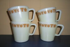 All 4~Vintage CORNING/PYREX GOLD BUTTERFLY Coffee Mugs/CUPS w/D Handles~Nice!