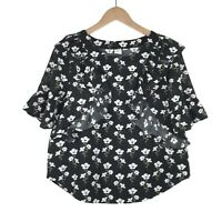 Gap Womens Floral Ruffle Top Sz Small Short Sleeve Black White Blouse