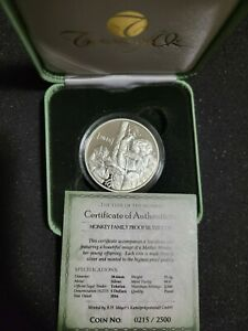 2016 Tokelau 1 Ounce Silver Proof YEAR OF THE MONKEY $5 Coin Coa Treasures of Oz