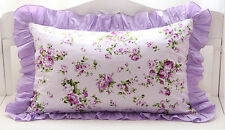 Shabby Chic Cottage Large Purple Floral Rose Lilac Ruffle Edge Pillow Case Sham