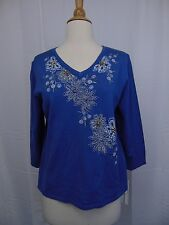 Alfred Dunner Petite Embellished Floral Beaded Sweater Lake Combo Blue PM #3351