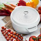 New Staub Cast Iron 4-qt Round Cocotte White Dutch Oven