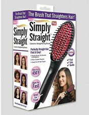 Simply Straight Ceramic Hair Straightener Brush - Temp. Control - As Seen on TV