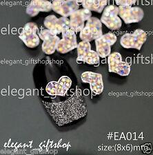 #EA014 10pcs 3D Alloy Jewelry Heart Nail Art Deco Multicolor Glitter Rhinestones