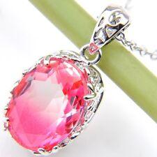 Wedding Gift Bi-Color Tourmaline Gemstone Solid Silver Fire Pendant Necklace
