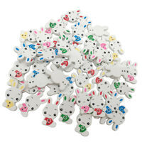 50pcs Cute Animal Rabbit Wooden Buttons With 2 Holes for Cardmaking Crafting