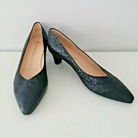 Peter Kaiser Women's Black Shimmer Leather Point Toe Heel Shoes Size 6.5 or 40