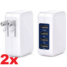 2x High Speed 4 Port USB 15W 3.1A Wall Charger For iPhone Smasung Travel Charger
