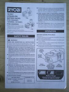 Ryobi Operator's Manual for 18V Lithium-Ion Battery Packs