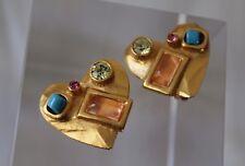 Christian LaCroix -Paris Modernist Heart Jewel Gold-Tone 1980s Clip Earrings