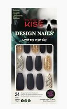Kiss Design Nails Coffin Length Nails Spider Webs Long Length Nails Undertaker