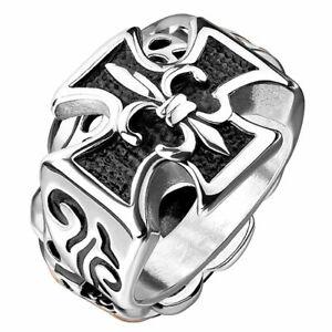 Biker Rocker Ring Bikerschmuck Eisernes Kreuz Fingerring mit Fleur-de-Lys