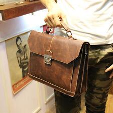 Retro PU Leather Men Small Briefcase Business File A4 Document Bag Shoulder Bag