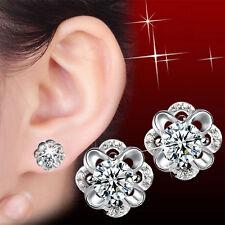 New WomenBling Living Flowers Stud Earrings Crystal Stud Earrings Jewelry