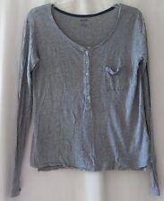 AERIE Womens Long Sleeve Henley Light Weight Shirt Buttons Gray Size M