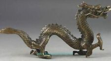 Hammered Old Chinese Brass Dragon Exorcism Oriental Statue Big Decor b02