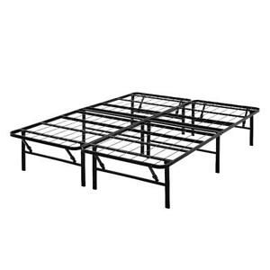 """Mainstays 14"""" High Profile Foldable Steel Bed Frame, Powder-coated Steel, Queen"""