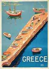 Metal Sign Greece Aegean Island Greek Travel 1940S Jetty Boats A4 12X8 Aluminium