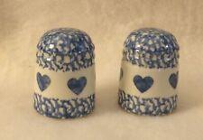 Henn Workshops Pottery -  SALT & PEPPER SHAKERS - Blue Spongeware Hearts