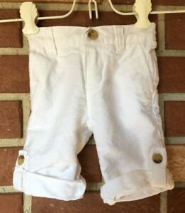 Janie And Jack Boys 3 6 mo White Linen Blend Roll Up Dressy Casual Pants