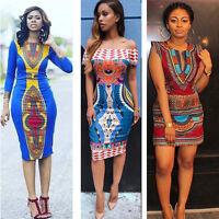 Dame Femme Africaine Imprimé Dashiki Robe Moulante Soirée D'été Vacances Mini
