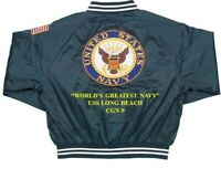USS LONG BEACH  CGN-9  NAVY ANCHOR EMBROIDERED 2-SIDED SATIN JACKET
