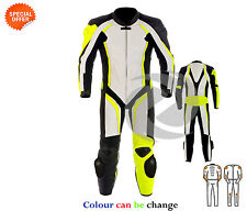 Yellow and white motorbike gears with perforated leather best for day track race