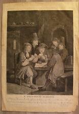 """gravure XVIIIème """"l'après-dinée flamande"""" engraving etching stampa grabado"""