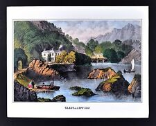 """1978 Vintage /""""GLENGARIFF INN IRELAND/"""" BANTRY BAY CURRIER /& IVES COLOR Lithograph"""