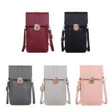 Fashion Women Touch Screen Mobile Phone Pouch PU Splicing PVC Crossbody Bag
