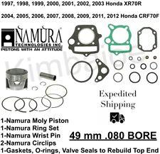 .5mm 47.5mm Bore PK1730 Honda XR70 CRF70 Wiseco Piston /& Gasket Kit 10.5:1