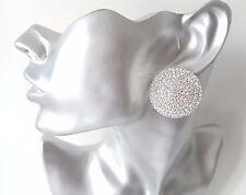 Beautiful 32mm BIG silver tone & diamante round shape CLIP ON stud earrings