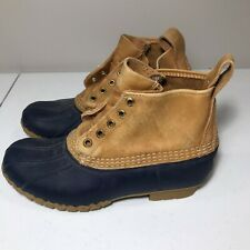 "LL Bean Women's 6"" Bean Boots Navy Blue Tan Leather Duck Ankle Boots Sz 7"