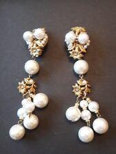 Belles boucles d'oreilles vintage couture en métal doré et perles, années 80