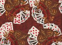 BTY Kanvas FULL HOUSE POKER on Rust Print 100% Cotton Quilt Craft Fabric by Yard